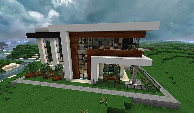 Modern house with style minecraft build 3 minecraft for Modern house building